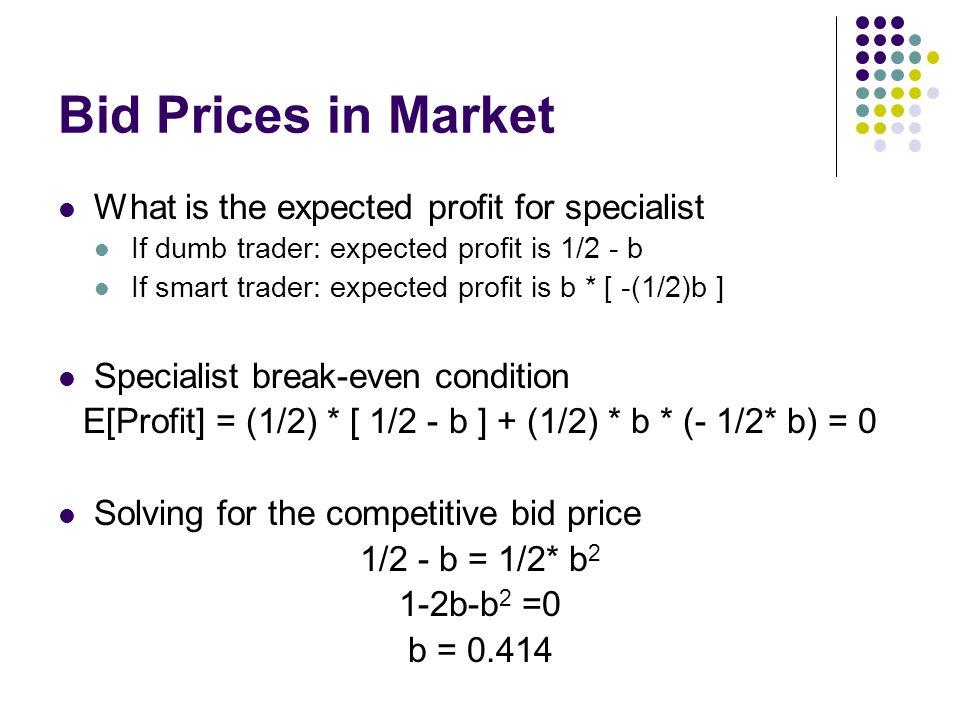E[Profit] = (1/2) * [ 1/2 - b ] + (1/2) * b * (- 1/2* b) = 0